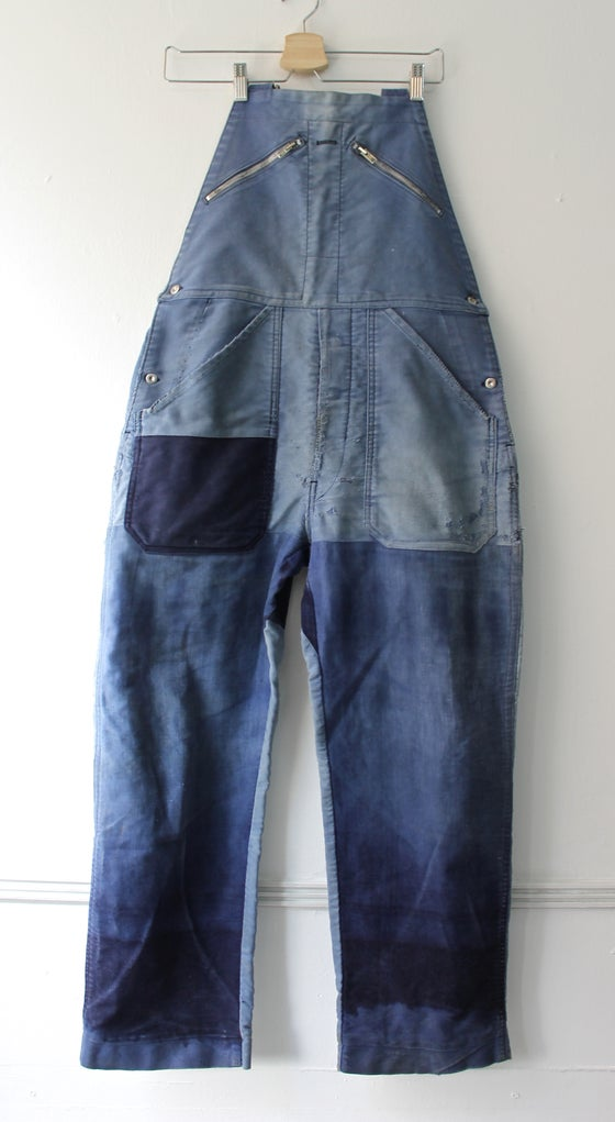 Image of 1950'S FRENCH indigo moleskin overall FADED & patched