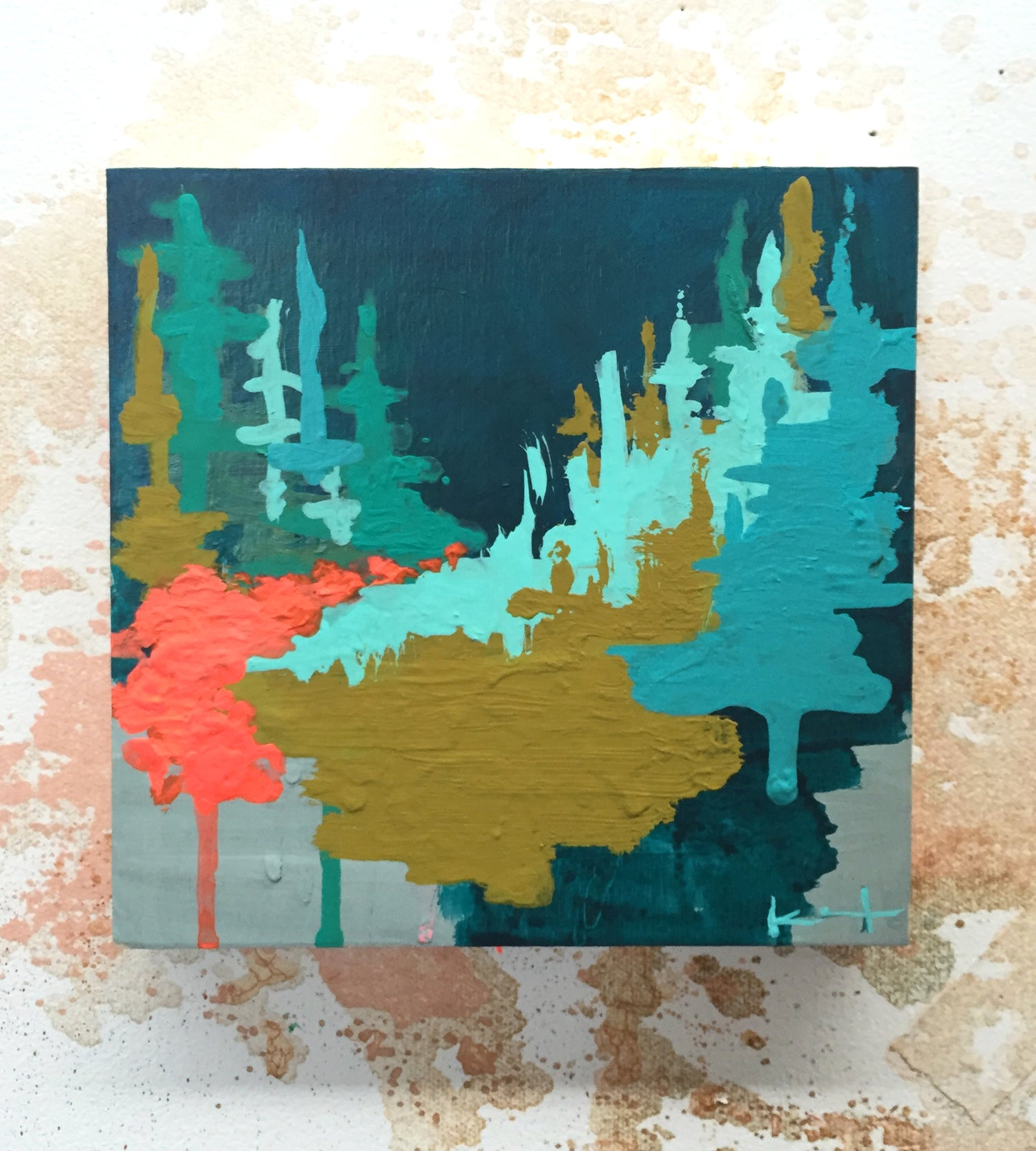 Image of Tiny Painting No. 18 (olive, vermilion, turquoise)