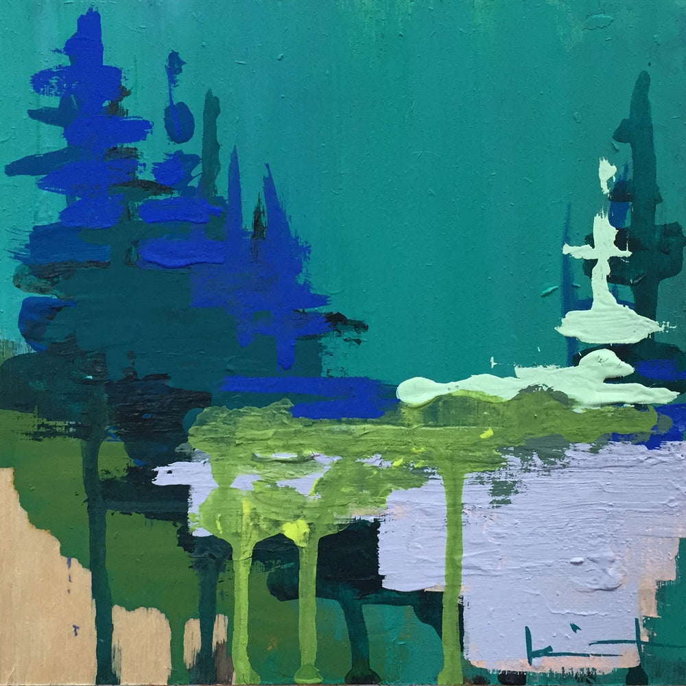 Image of Tiny Painting No. 20 (teal, marine, lime)