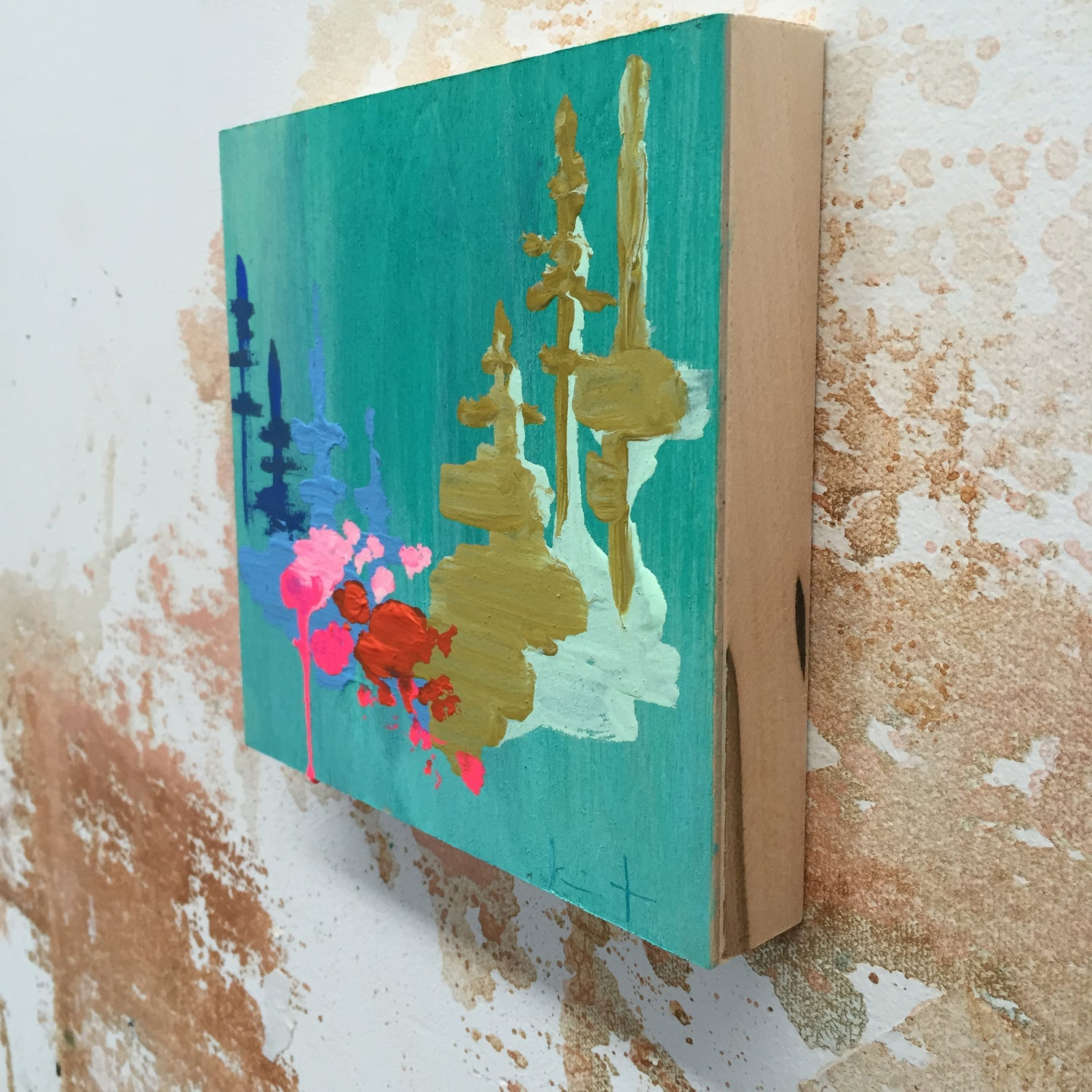 Image of Tiny Painting No. 15 (teal, opera, olive)