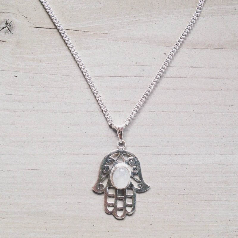Image of Moonstone Hamsa Necklace