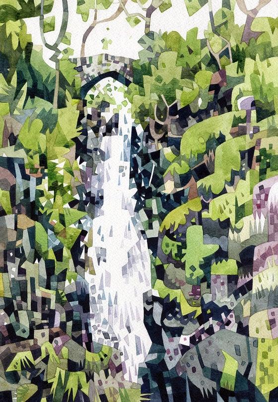 Image of Aira Force waterfall print