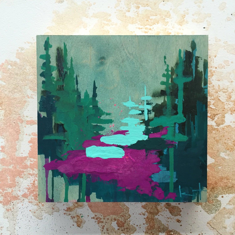 Image of Tiny Painting No. 21 (aqua, violet, jade)