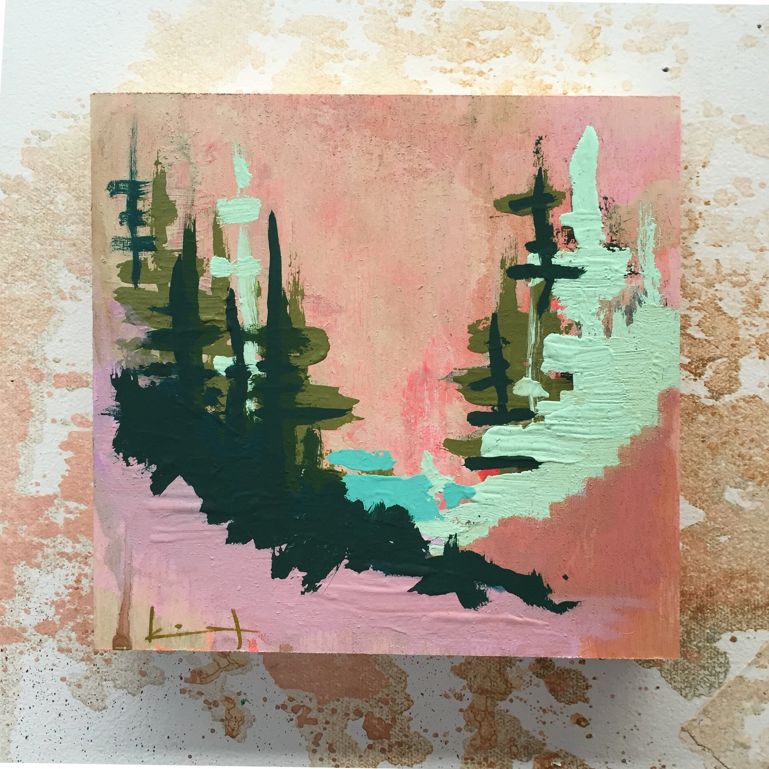 Image of Tiny Painting No. 25 (sandy peach, mint, evergreen)