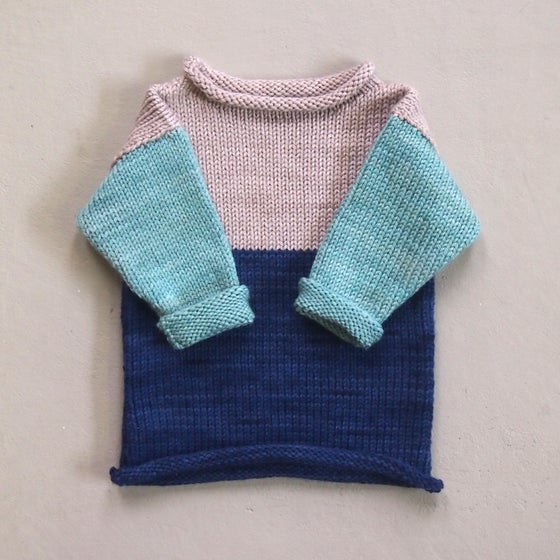Image of BLOCK JUMPER - Mint / Navy / Natural