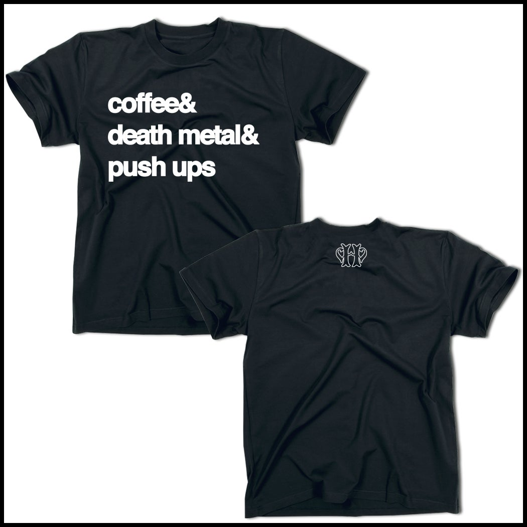Image of COFFEE, DEATH METAL & PUSH UPS NAVY BLUE T-SHIRT