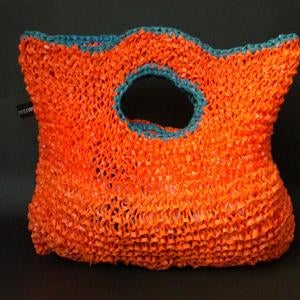 Image of Orange Handbag with Blue Detail