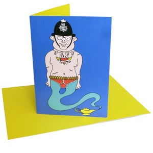 Image of Policeman Genie (greeting card)