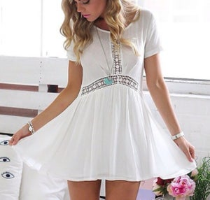 Image of Cute short sleeve lace dress