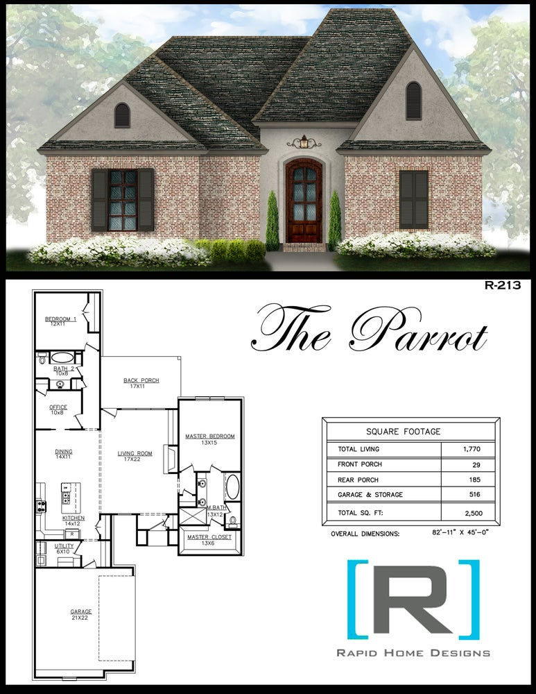 The parrot 1770sf rapid home designs for Rapid home designs