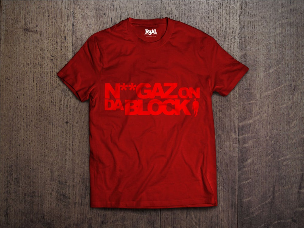 Image of Niggaz On Da Block T-shirt (Red/Red Font)
