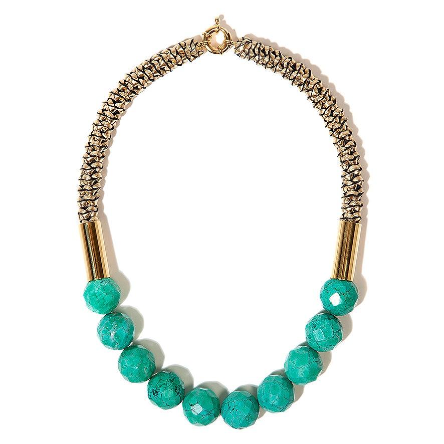 """Image of """"Oasis"""" Turquoise  & Gold Neckpiece"""