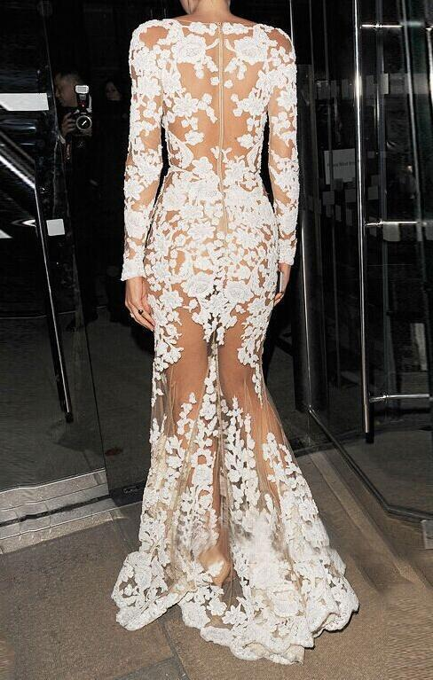 Image of CUTE LONG LACE HOLLOW OUT SEXY LONG DRESS