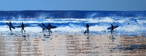 Image of Surfers and Sea Spray North Cornwall