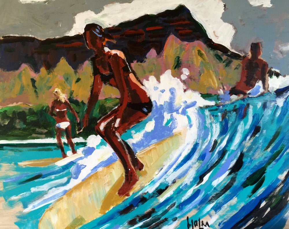 """Image of """"Diamond head"""" 16 x 12 embellished/signed giclee on stretched canvas"""