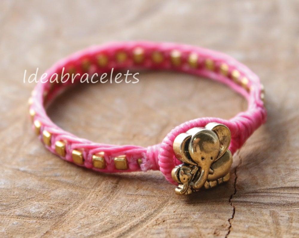 Image of Gold Cube Beaded Mother & Baby Elephant Bracelet - Pink