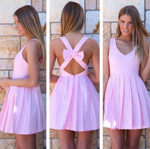 Image of HOT BACKLESS BOW CROSS SEXY DRESS