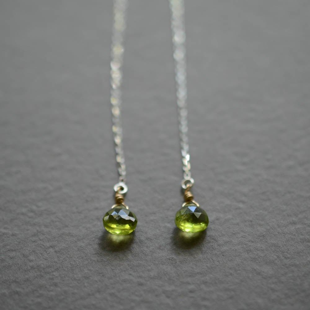 Image of Peridot threader earrings, August birthstone
