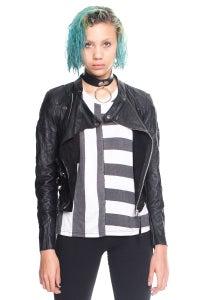 Image of Cropped Leather Biker Jacket