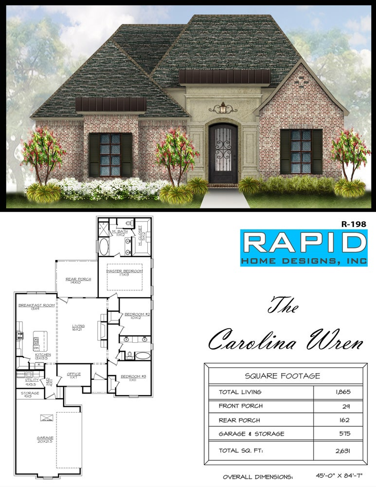 The carolina wren 1865sf rapid home designs for Rapid home designs