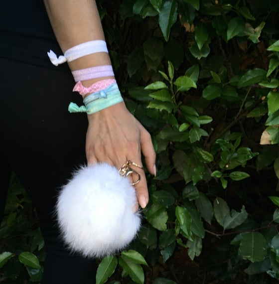 Image of White Extra Large Pom Fur Key Chain + Hair Tie Combo Pack