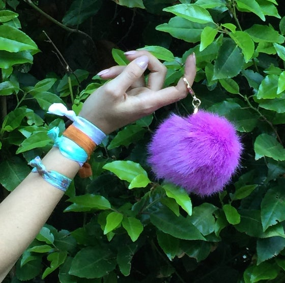 Image of Purple Extra Large Pom Fur Key Chain + Hair Tie Combo Pack