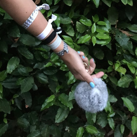 Image of Grey Extra Large Pom Fur Key Chain + Hair Tie Combo Pack