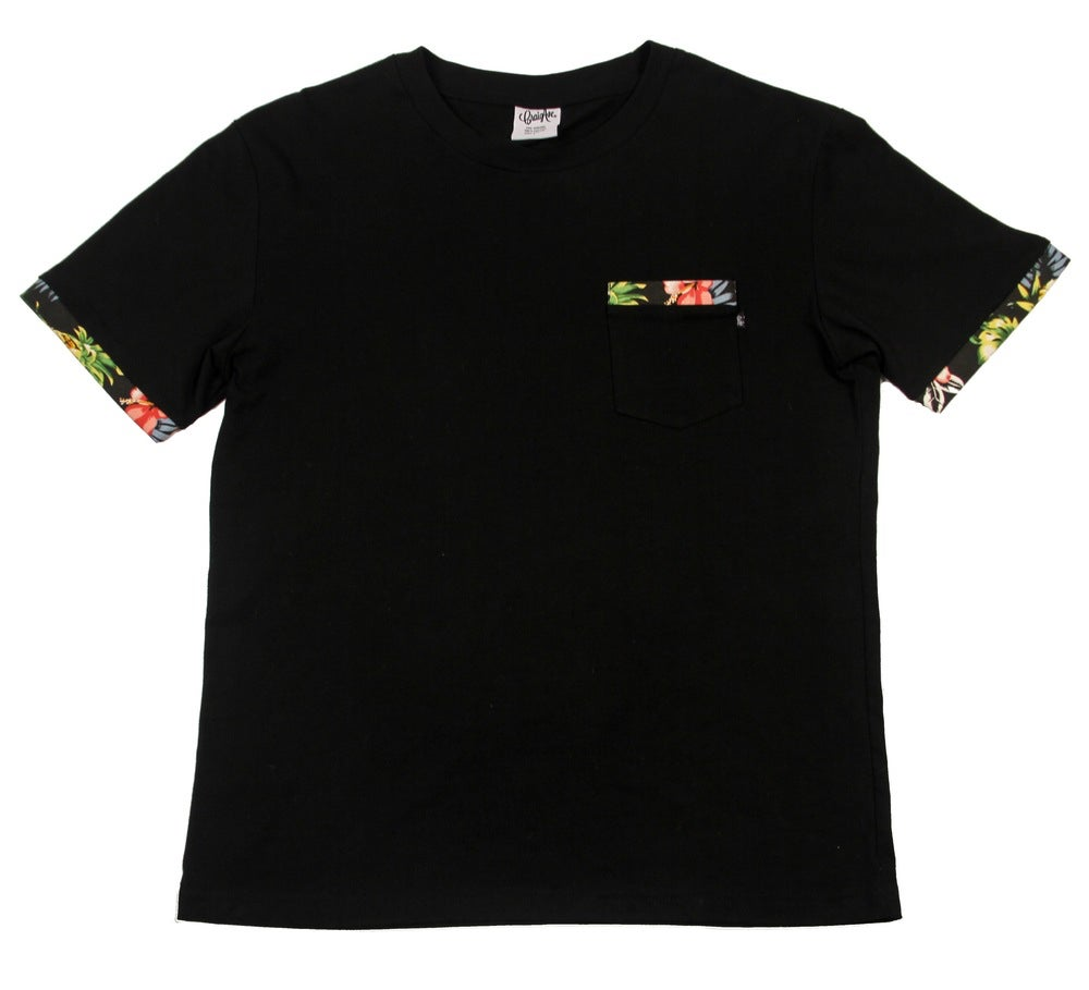 Image of Floral Pocket Tee in Black