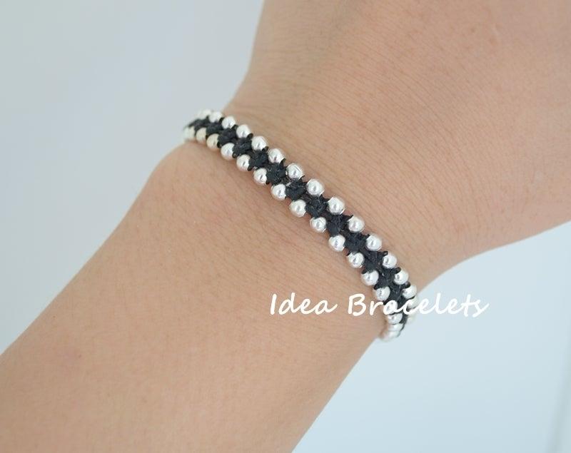 Image of Elephant Simple Friendship Bracelet Gift Idea - Silver Black