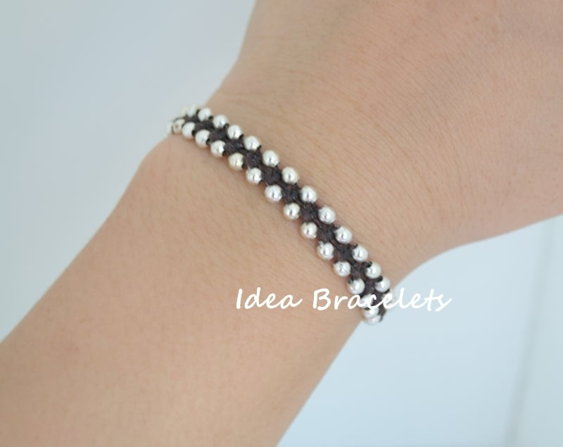 Image of Elephant Simple Friendship Bracelet Gift Idea - Silver Dark Brown