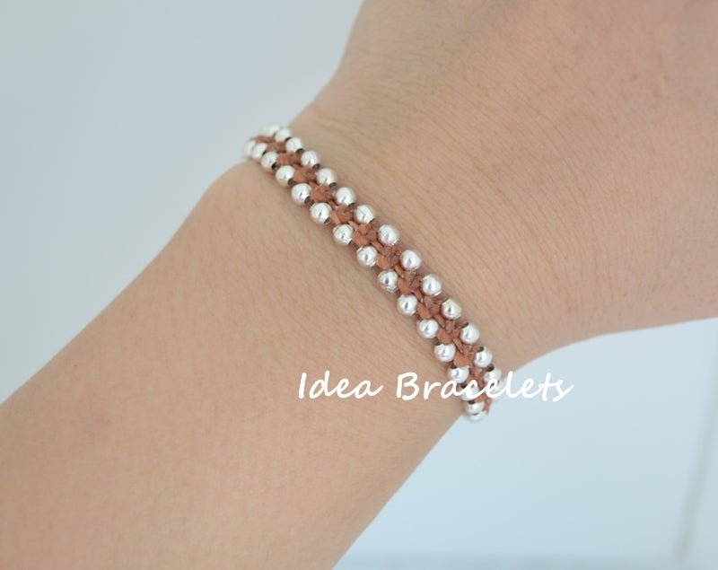 Image of Elephant Simple Friendship Bracelet Gift Idea - Silver Brown