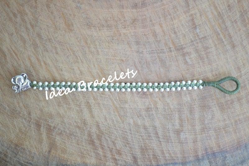Image of Elephant Simple Friendship Bracelet Gift Idea - Silver Green