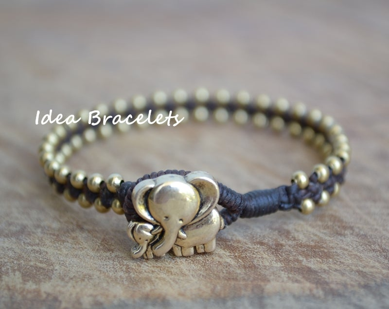 Image of Elephant Simple Friendship Bracelet Gift Idea - Brass Dark Brown