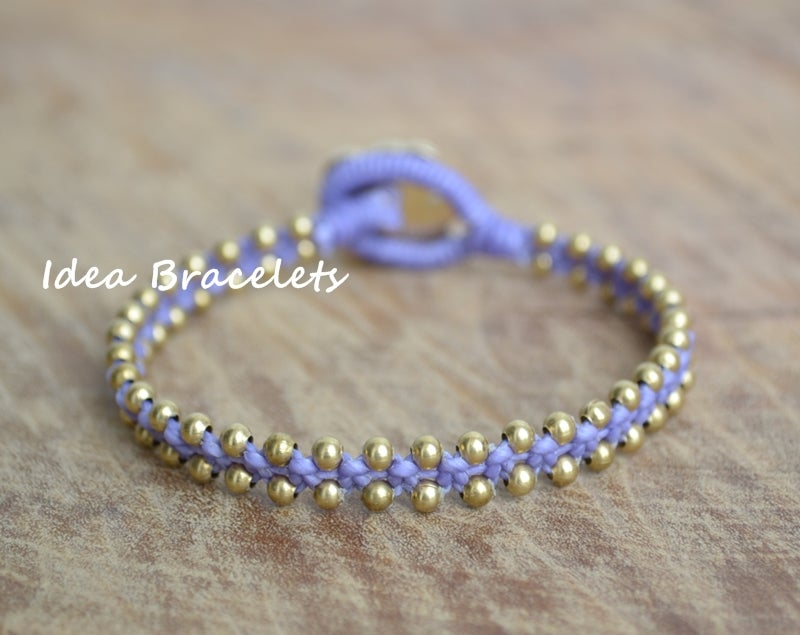 Image of Elephant Simple Friendship Bracelet Gift Idea - Brass Purple