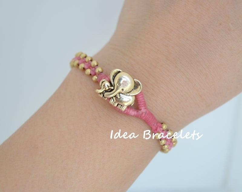 Image of Elephant Simple Friendship Bracelet Gift Idea - Brass Pink