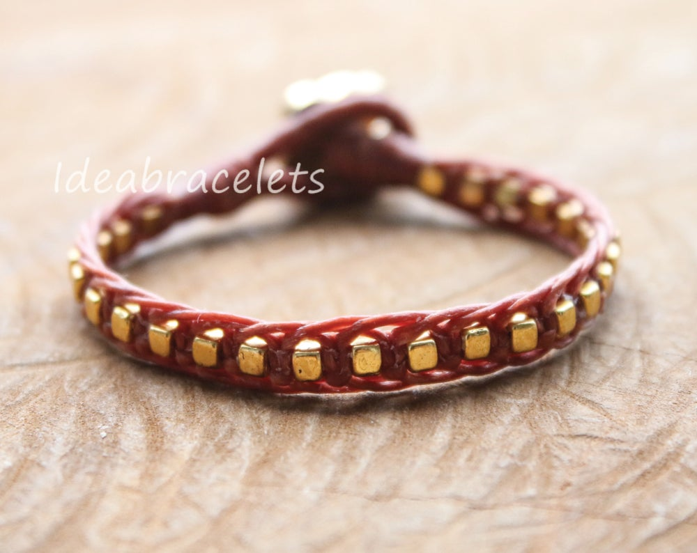Image of Gold Cube Beaded Mother & Baby Elephant Bracelet - Brown