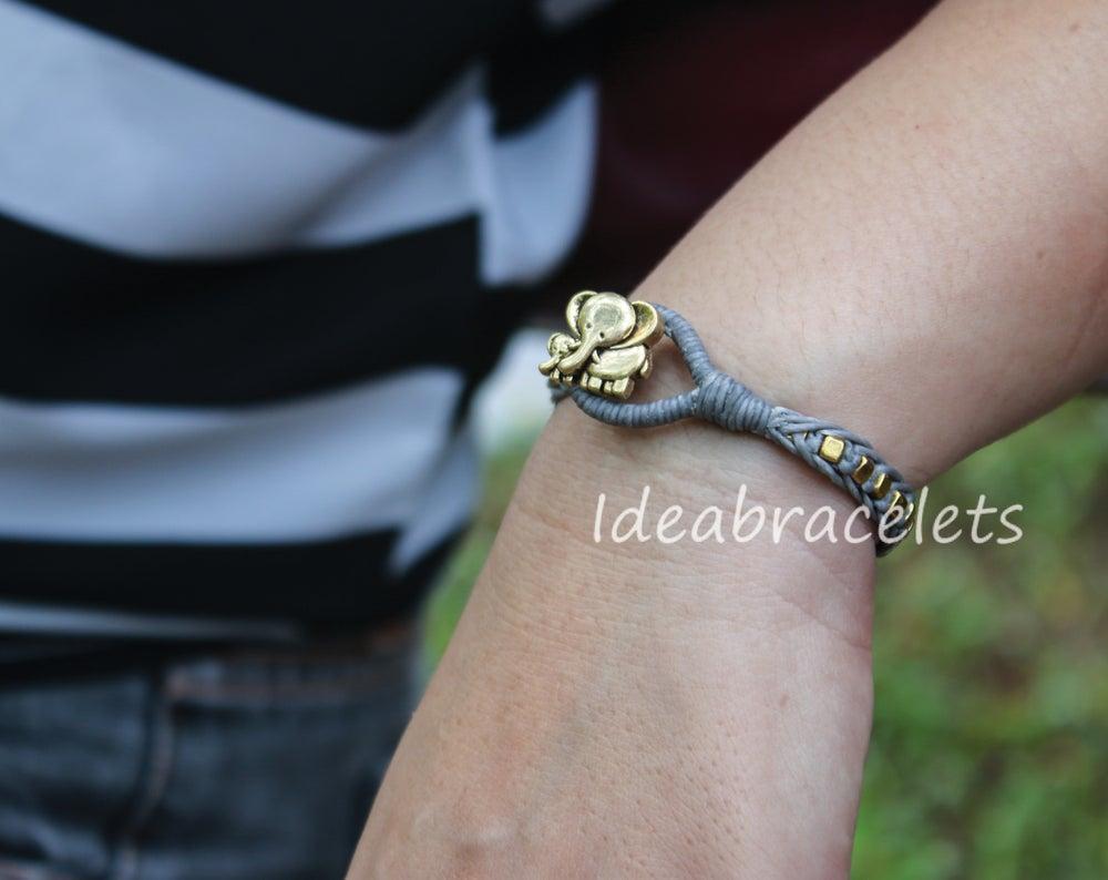 Image of Gold Cube Beaded Mother & Baby Elephant Bracelet - Gray