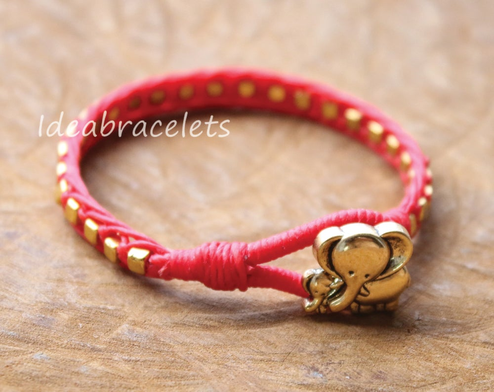 Image of Gold Cube Beaded Mother & Baby Elephant Bracelet - Red