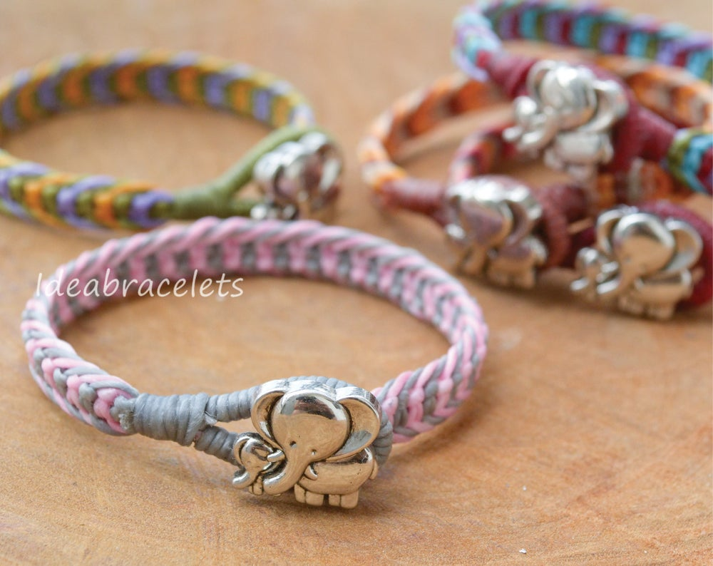 Image of Twotone color Macrame Friendship Bracelet Silver Elephant Bracelet - Pink & Gray
