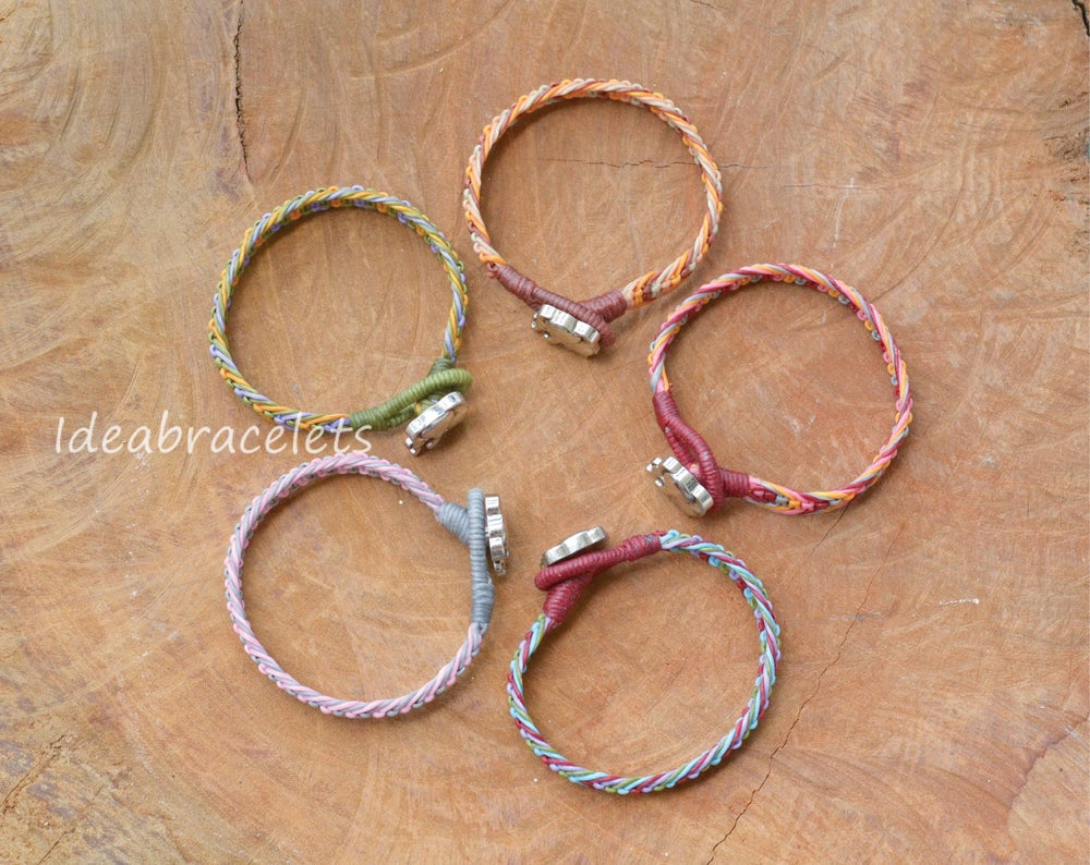 Image of Multicolor Macrame Friendship Bracelet Silver Elephant Bracelet - Blue, Green, Purple & Red