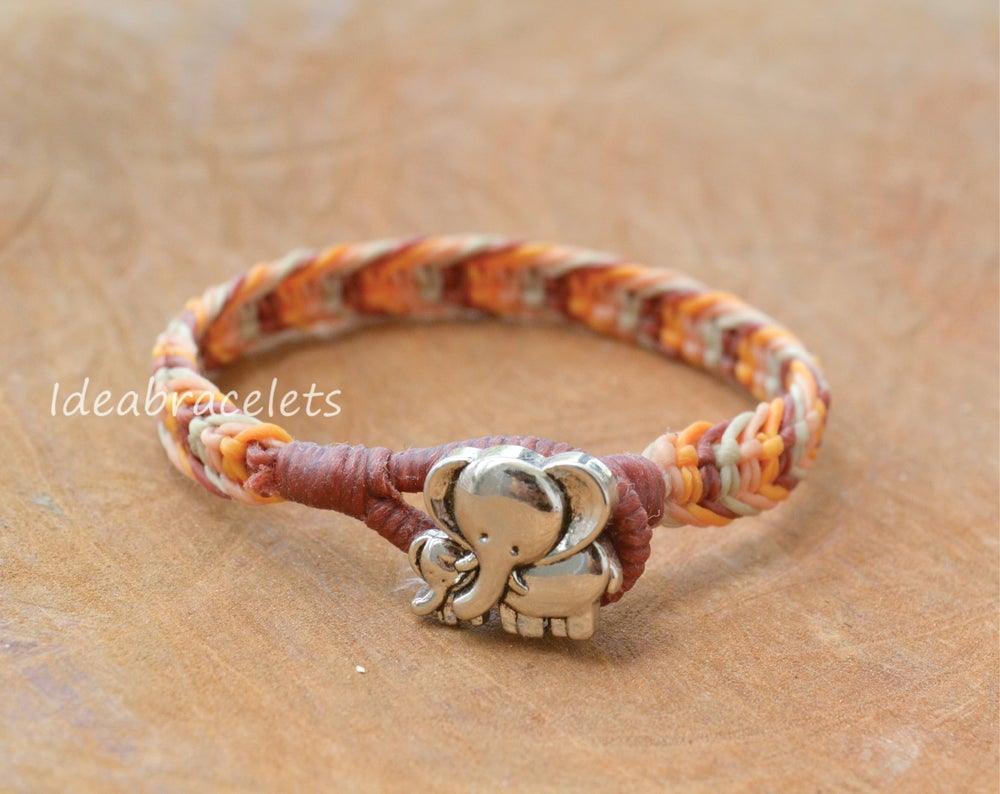 Image of Earthtone Color Macrame Friendship Bracelet Silver Elephant Bracelet - Yellow, Beige, Nude & Brown