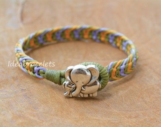 Image of Multicolor Macrame Friendship Bracelet Silver Elephant Bracelet - Purple, Green & Yellow