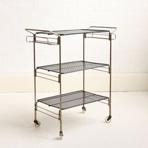 Image of Brass 'Mategot' style drinks Trolley