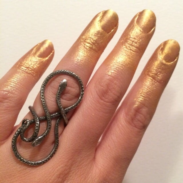 Image of Double Snake ring, silver snakes, MADE to ORDER