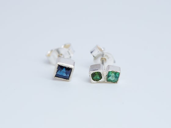 Image of One Vs Two Studs with Dark Blue Australian Sapphire, Tsavorite Garnet and Tourmaline