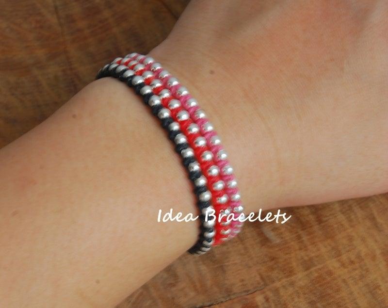 Image of Multi Layers Bohemain Macrame Bracelets - Red tone