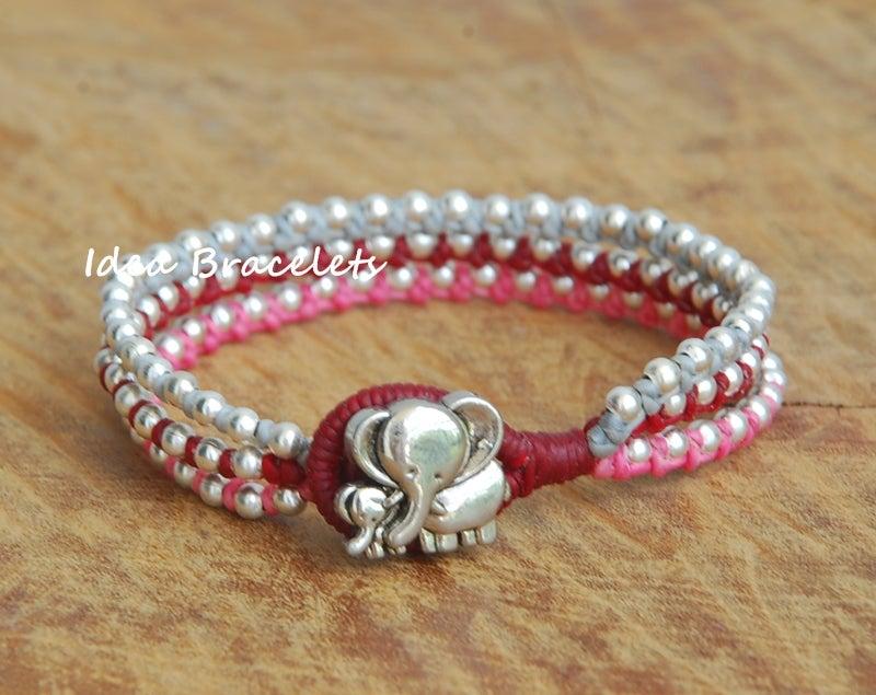 Image of Multi Layers Bohemain Macrame Bracelets - Pink tone