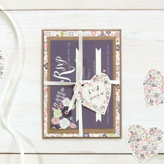 Image of Love Heart Bespoke Wedding Invitation and RSVP Personalised Bundle
