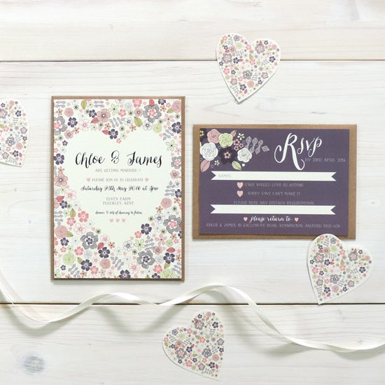 Image of Love Heart Bespoke Wedding Invitation and RSVP