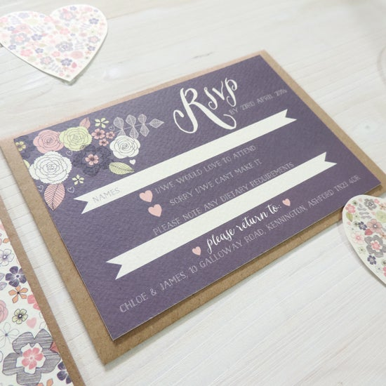 Image of Love Heart Wedding Invitation and RSVP with Personalised Belly Band